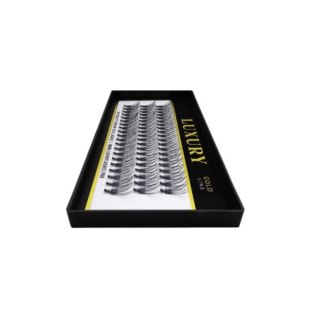 Kępki rzęs o naturalnym podkręceniu LUXURY GOLD - C  12 mm