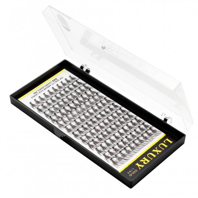 Pojedyncze kępki rzęs Luxury GOLD C 12mm - jedwabne, naturalne podkręcenie, 10D (120szt)