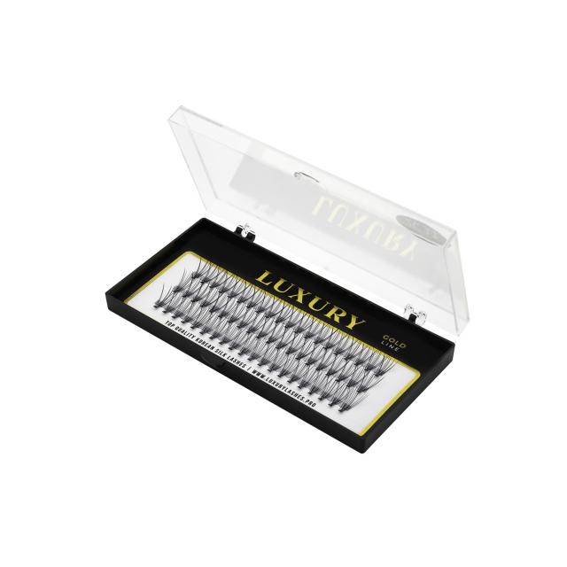 Pojedyncze kępki rzęs Luxury GOLD C 14mm - jedwabne, naturalne podkręcenie, 10D