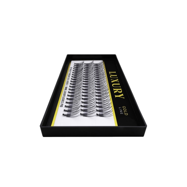 Pojedyncze kępki rzęs Luxury GOLD C 9mm - jedwabne, naturalne podkręcenie, 10D