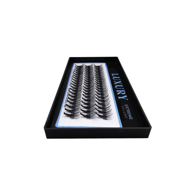 Podwójne kępki rzęs Luxury EXTREME 2C 14mm - jedwabne, mocne podkręcenie, 20D
